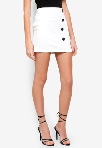MISSGUIDED 白色 Contrast Button Wrap Mini Skirt 25B25AAAE93785GS_1