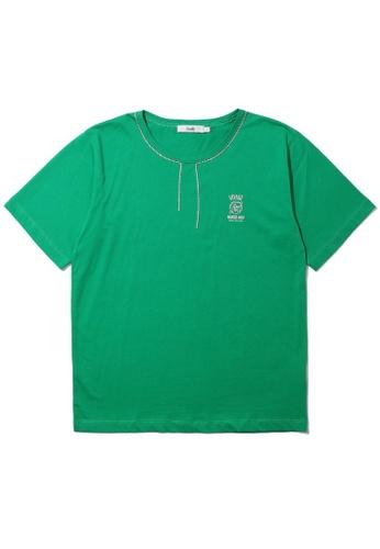 b+ab green Strass neckline slogan  tee 360E2AA91BCA25GS_1