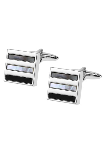CUFF IT black and grey and white White and Grey Mother of Pearl and Onyx Stripes Cufflinks 15E48AC6AECFACGS_1