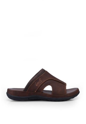Louis Cuppers brown Faux Leather Stitched Sandals 8CB6ASHFE69C78GS_1