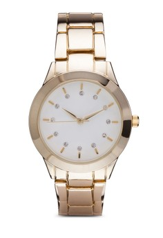 Diamond Dial Round Face Link Strap Watch