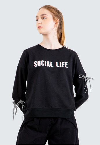 COLORBOX black Glitch Printed Sweatshirt A39C6AAC26F96CGS_1