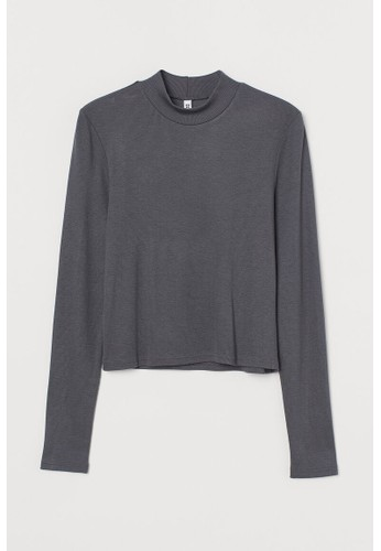 H&M grey Ribbed turtleneck top F1A97AA8635C48GS_1