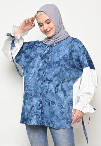 My Daily Hijab white and blue Yura Tye Dye Blouse 7816FAA8FFA4B7GS_1