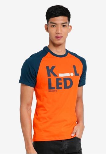 Fidelio 橘色 短袖撞色印花T恤 76467AAB0A3444GS_1