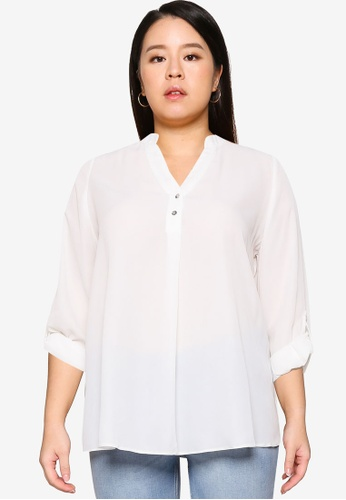 Dorothy Perkins white Plus Size Ivory Roll Sleeve Shirt 1B190AA62EC0EBGS_1