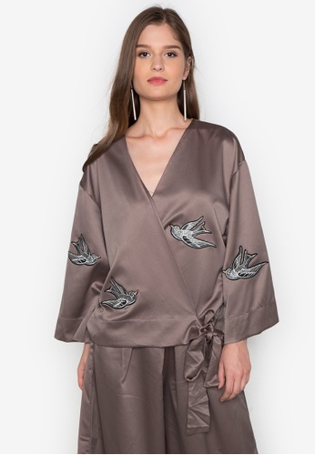 Chloe Edit brown Wrap Top With Applique CH672AA0J9A7PH_1