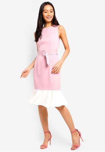 ZALORA white and pink Mermaid Hem Sheath Dress With Belt 735F7AA8640A0FGS_1