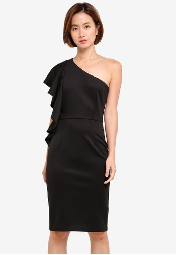 Dorothy Perkins black One Shoulder Ruffle Pencil 48D50AA03809CAGS_1
