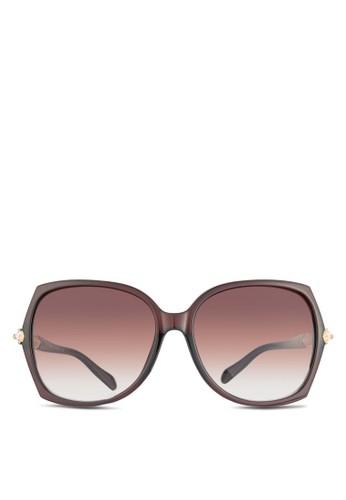 NUVEAU 金屬飾鏡腿大esprit台灣outlet方框太陽眼鏡, 飾品配件, 長框