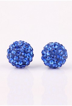 Jona Blue Round Stud Earrings