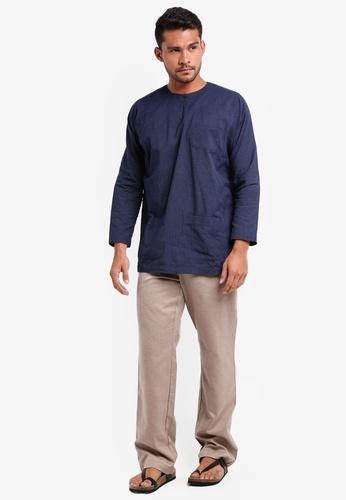 Lubna grey and blue Stripe Baju Melayu Teluk Belanga 494D2AAE1F82D5GS_1