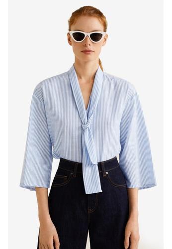 Mango blue Striped Cotton Blouse 001C1AADA9B004GS_1