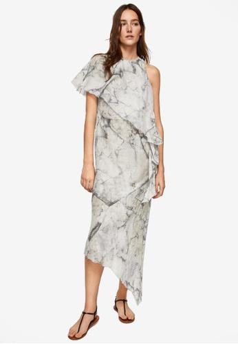 Mango grey Asymmetrical Ruffle Dress BEA62AAB85B785GS_1