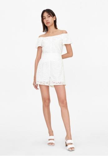Pomelo white Elastic Waist Eyelet Shorts - White 984BDAA5C95AFDGS_1