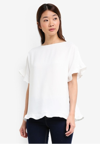 ESPRIT white Woven Short Sleeve Blouse AAC2FAA4BC3AA1GS_1