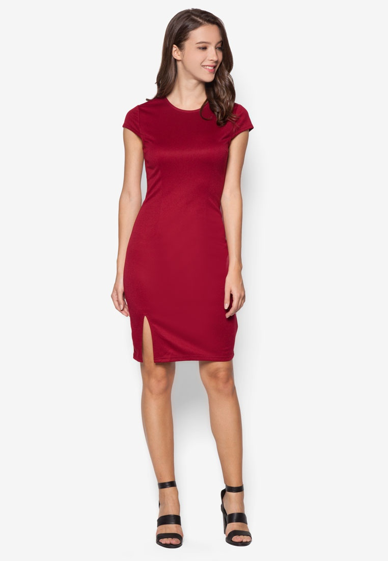 Bodycon Pack Black Slit Front Deep 2 ZALORA Red Dress Basic dIwgfqf