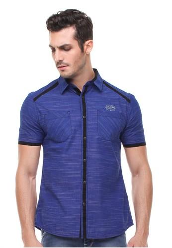 LGS blue LGS - Slim Fit - Kemeja Fashion - Bahan Bertekstur - Biru LG695AA73ZWCID_1