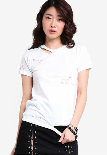 TOPSHOP white Never Look Back Distressed T-Shirt by Tee & Cake TO412AA81JFIMY_1