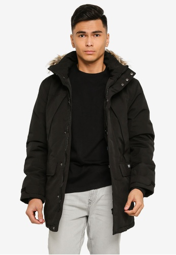 Springfield black Long Water-Repellent Parka With Padding 2E408AA0856BAEGS_1