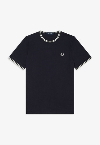 Fred Perry navy M1588 - TWIN TIPPED T-SHIRT - (NAVY) EF6E7AAB01928EGS_1