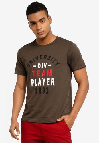 Marc & Giselle 褐色 短袖印花T恤 9340FAAED2E386GS_1