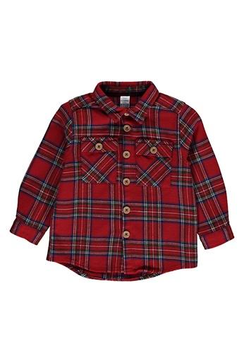 LC Waikiki red Baby Boy's? Checkered Flannel Shirt EBC4BKAB9EB2BFGS_1