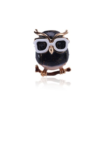 Glamorousky green Simple and Cute Plated Gold Owl Brooch with Cubic Zirconia E31A4AC970AA39GS_1
