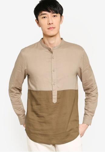 ZALORA BASICS green Color Block Grandad Collar Shirt DA683AA5228E9AGS_1