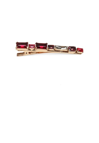 Glamorousky red Simple Fashion Plated Gold Geometric Strip Red Cubic Zirconia Hair Clip FEF61AC02B61B5GS_1