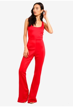 883afe3e8613 MISSGUIDED Square Neck Pintuck Flare Leg Jumpsuit RM 129.00. Sizes 6 8 10  12 14