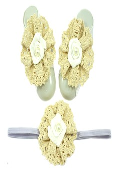 Baby Headband and Barefoot Sandals (Satin Rosette) White Set 0+ mons