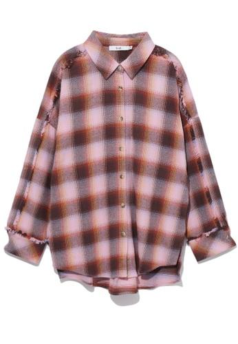 b+ab pink Frayed plaid shirt EEE55AA593E25EGS_1