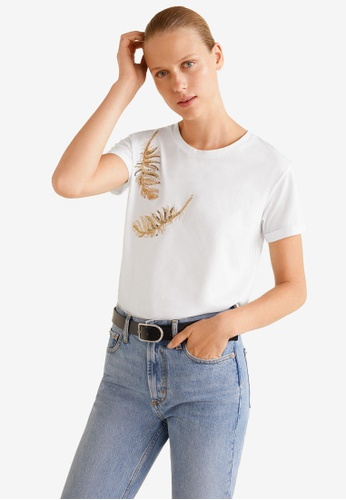 Mango white Sequined Cotton T-Shirt 1FEFCAA37CC14DGS_1