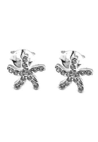 Elfi silver Elfi 925 Genuine Silver Sparkle Starfish Stud Earrings SE110 21ABDACDD008A4GS_1
