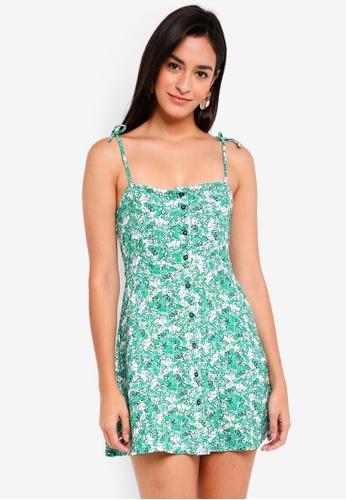 TOPSHOP green Petite Button Through Midi Slip Dress 94F26AA08F2B27GS_1