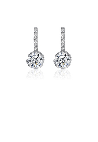 Glamorousky white 925 Sterling Silver Fashion Simple Geometric Cubic Zirconia Stud Earrings C1F35ACB85B586GS_1