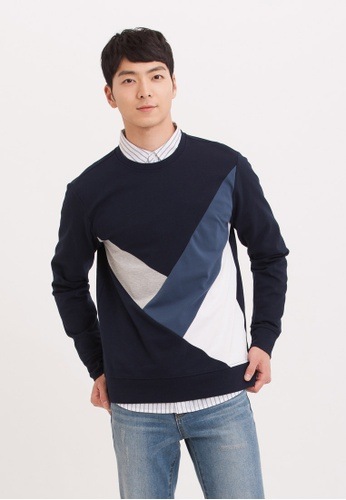 H:CONNECT navy Different Color Stitching Crewneck D53ECAA2F3691FGS_1