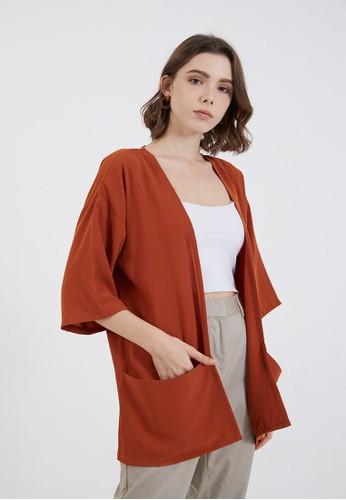 Berrybenka Label red Jade Simple Kimono Terracota FDEB9AA1938AEBGS_1