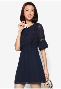Chiffon Dress with Lace Trimmings