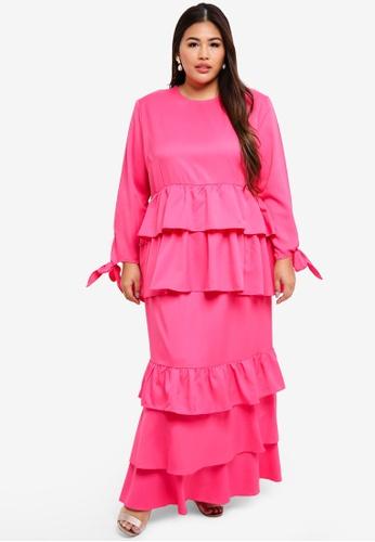 CURVA FABULOUS pink Layered Kurung Kalsom 20615AA8F26F5AGS_1