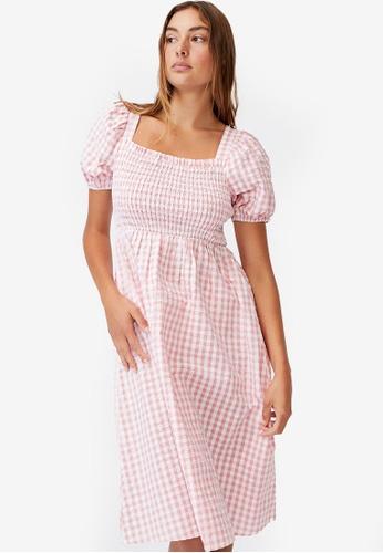 Cotton On multi Woven Petite Leah Short Sleeve Midi Dress AD039AA1266181GS_1