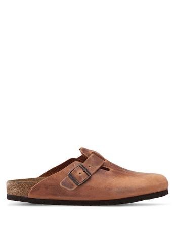 Birkenstock brown Boston Oiled Leather Sandals B4353SHD9F0B4DGS_1