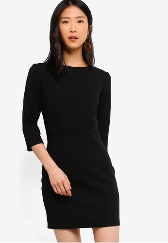 ZALORA BASICS black Basic Half Sleeve Sheath Dress 11080AADD3C9BCGS_1