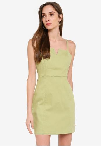 Mink Pink green Auriel Notched Mini Dress A1480AA2C1981BGS_1