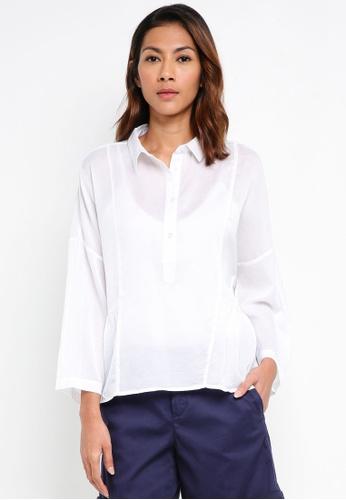 United Colors of Benetton white Ruffled Shirt DCA36AA45E7B8DGS_1