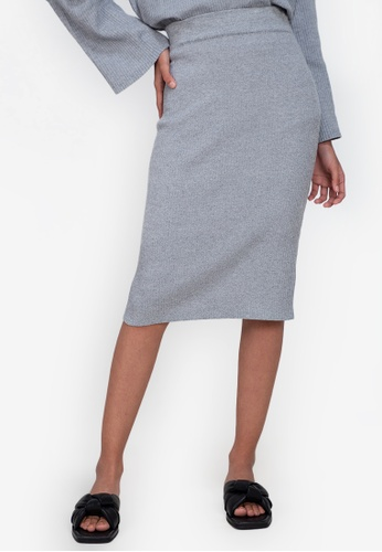 ZALORA BASICS grey Knitted Skirt E986AAA32E9D54GS_1