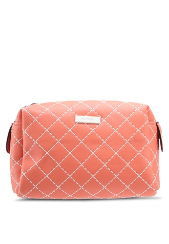 Mango red Contrast Seam Cosmetic Bag 0605CACFCC3412GS_1