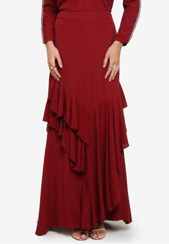 Zalia 紅色 Asymmetrical Flounce Skirt 3B78EAAC317E4AGS_1