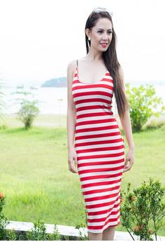 Women's Simple Spaghetti Strap Striped Sleeveless Dress